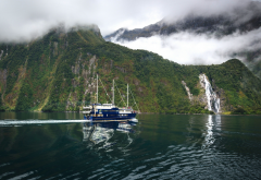 fiordland national park, new zealand, fjord, mountains, waterfalls, ship, nature wallpaper