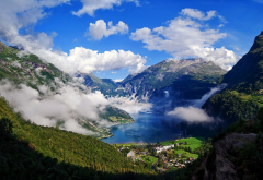 geirangerfjord, mountains, more and romsdal, geiranger, norway, fjord, village, clouds wallpaper