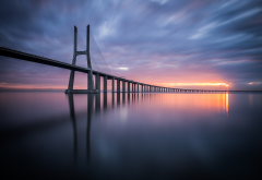 vasco da gama bridge, bridge, sky, beautiful, cable-stayed bridge, lisbon, portugal wallpaper