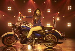triumph, urvashi rautela kaabil, bike, motorcycle, women, celebrity, indian actress, brunette wallpaper