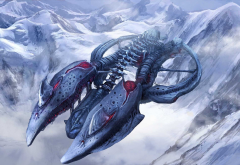 science fiction, artwork, spaceship, mountains, winter, snow wallpaper
