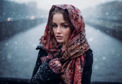 girl, brunette, model, snow, winter, russian, women wallpaper