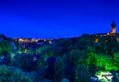 luxembourg, night, trees, park, castle, city wallpaper