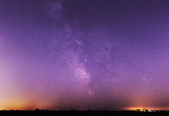 landscape, sunset, Milky Way, night, stars wallpaper