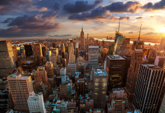 New York, New York City, sunset, city, aerial view, usa wallpaper