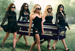 pretty little liars, season 6, movies, tv series, women, cemetery, coffin, black dress, sunglasses, troian bellisario, sasha pieterse, lucy hale, ashley benson, shay mitchell wallpaper