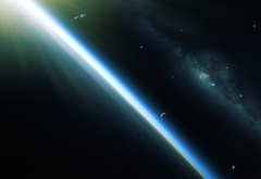 planet, orbit, satellite, galaxy, space wallpaper