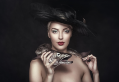 portrait, hat, fish, pike, make-up wallpaper