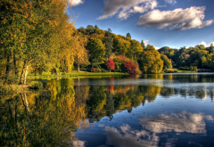 nature, autumn, lake, tree, shore, clouds, reflection wallpaper