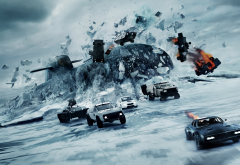 the fate of the furious, movies, submarine, cars, ice, winter wallpaper