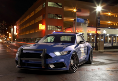 ford mustang, notchback design, police, cars, street, night, city wallpaper