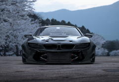 bmw i8, tuning, spring, flowers, blossoms, cars, bmw wallpaper