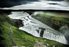 gullfoss, waterfall, iceland, nature, mountains, river wallpaper