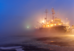 ship, port, lights, fog, ice wallpaper