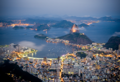rio de Janeiro, sea, coast, evening, lights, brazil, city, mountains wallpaper