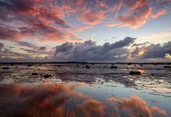 sky, clouds, coast, dawn, reflection, sea, low-tide, beach, nature wallpaper