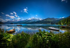 switzerland, lake, mountains, alps, nature wallpaper