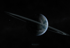 planet, rings, stars, iridium 5, space wallpaper