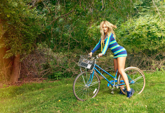 beyonce, singer, grass, bicycle, women, legs, music wallpaper
