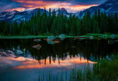 red rock lakes, colorado, lake, forest, mountains, sunset, nature wallpaper