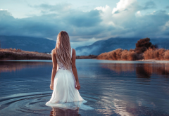 women, lake, white dress, clouds, dirty blonde wallpaper