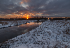 nature, winter, river, sunset, clouds, snow wallpaper