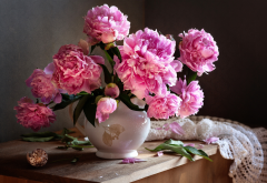 jug, flowers, peonies, peony, nature wallpaper