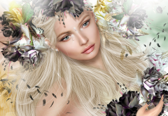 3d, graphics, women, girl, blonde, butterfly, tears, feather wallpaper