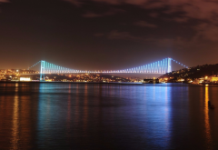 city, istanbul, turkey, bridge, night wallpaper