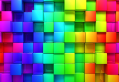 cubic, rainbows, abstract, cubes wallpaper