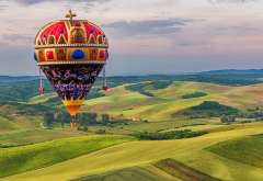 hot air balloon, nature, landscape, flight, hills, balloon wallpaper