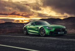 mercedes amg gt r, cars, green mercedes, mercedes, clouds wallpaper