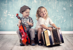 children, boy, girl, violin, music, instruments, cello, accordion, smile wallpaper