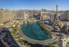 las vegas, usa, city, fountain, panorama wallpaper