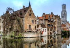 bruges, city, belgium, canal, home, reflection wallpaper