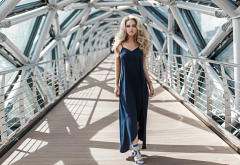 mode, blonde. dress, women, bridge wallpaper