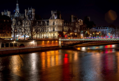 city, paris, france, river, bridge, night wallpaper