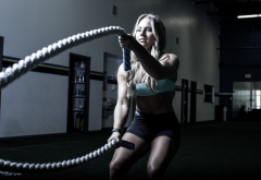 fitness model, ropes, crossfit, women, fitness, sport wallpaper