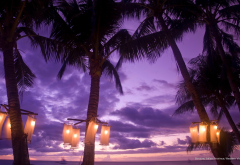 boracay, nature, tropics, palms, lantern, evening, coast, philippines, clouds wallpaper