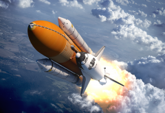 shuttle, flight, clouds, art, graphics, sally rides space shuttle, space shuttle wallpaper