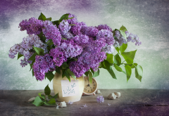 vase, leaves, lilac, clock, alarm clock, flowers, nature wallpaper