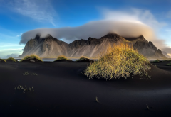 stokksnes, vestrahorn, iceland, sand, black sand, mountains, clouds wallpaper