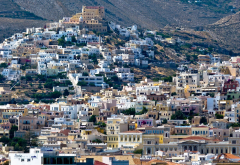 en ermoupoli, syros, greece, city wallpaper