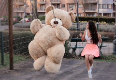 girl, big teddy, teddy bear, swing, toy, women, brunette, smile, skirt wallpaper