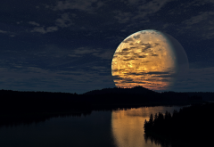 night, sky, moon, river, reflection, nature wallpaper