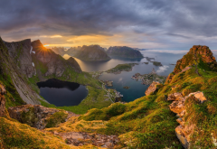lofoten, norway, rocks, green hill, sea, gloomy sky, nature wallpaper