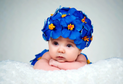 child, baby, girl, baby, hat, flowers wallpaper