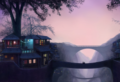 artwork, fantasy art, bridge wallpaper