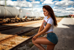 women, model, long hair, auburn hair, jeans shorts, sexy ass, legs, tanned, train station, railway, rails wallpaper