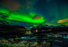 lofoten islands, norway, aurora, northen lights, night, mountains, nature wallpaper